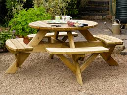 this round picnic table seats up to 8 people comfortably on its 4