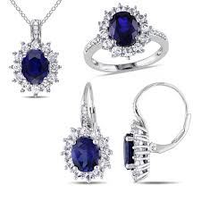 diamond sapphire necklace images Lab created blue sapphire and diamond sterling silver earring