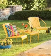 Yellow Patio Chairs Yellow Patio Furniture Set Outdoor Seating Plow Hearth