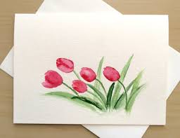 painting greeting cards in watercolor painted greeting card 5x7 tulips blank by cardwithheart