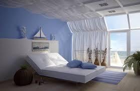 peinture mur chambre coucher déco bord mer chambre coucher lit design blanc peinture murale