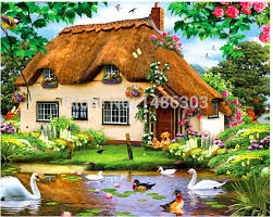 home and garden dream home 3d diy diamond painting beautiful dream house garden 40x30cm