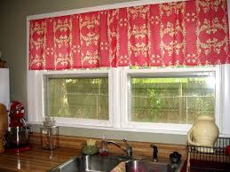kitchen traditional red kitchen window curtain ideas featuring