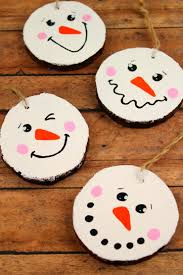 How To Make Adorable Wood Slice Christmas Ornaments Wood Slice Snowman Ornaments Frugal Mom Eh