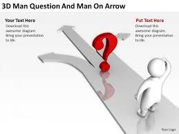 business development process flowchart 3d man question and arrow