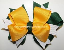 softball hair bows green yellow gold cheer ponytail holder green yellow softball
