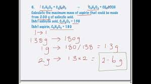 calculations of reacting masses from chemical equations youtube