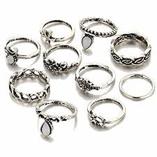 finger rings girls images Shining diva fashion antique silver set of 10 midi finger rings jpg
