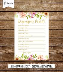 Wedding Wishes Spanish Wishes For Baby Shower Game In Spanish Floral Deseos Para La