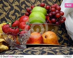 Bowl Of Fruits Brass Bowl Of Fruit With Cut Glass And Crystal Free Stock Photos