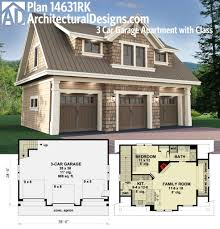 garage studio apartment floor plans house plan plan 14631rk 3 car garage apartment with class