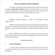 sponsorship agreement template u2013 10 free word pdf documents