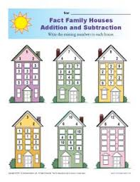 fact family worksheets addition and subtraction with houses