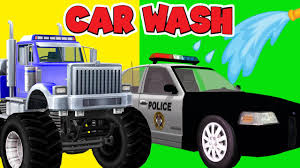 monster trucks kids video police car wash cartoons for children ambulance fire trucks wash