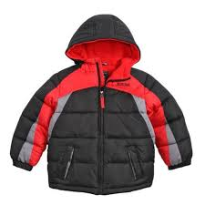 pacific trail boys black red puffer jacket winter