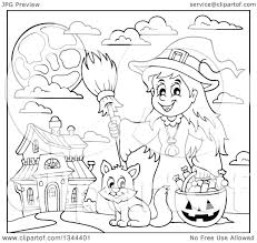 Drawing Of Halloween Lineart Clipart Of A Cartoon Black And White Happy Witch With