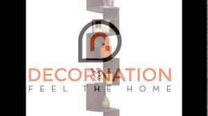 decornation zigzag corner wall mount shelf unit walnut finish