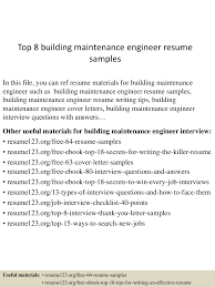 Maintenance Resume Examples Top8buildingmaintenanceengineerresumesamples 150516091011 Lva1 App6892 Thumbnail 4 Jpg Cb U003d1431767457