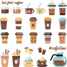 Cute Coffee Cups Cute Coffee Icons Set Stock Vector Art 688376478 Istock