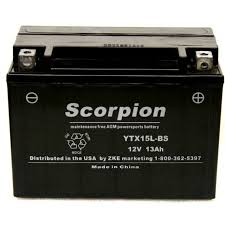 ytx15l bs battery scorpion 12 volt motorcycle batteries