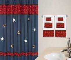 Denim Curtain Western Shower Curtain For Kids Blue Denim Fabric U0026 Red Bandana