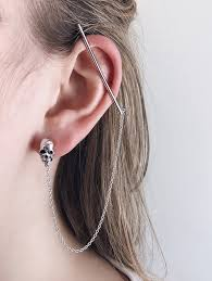 earring on ear silver skull ear bar no piercings needed au revoir les filles
