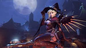 animated halloween desktop background overwatch mercy witch skin animated wallpaper 1440 60fps youtube