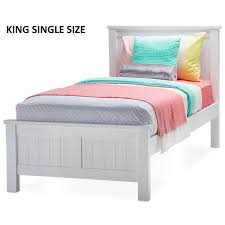 snow king single size wooden bed frame in white buy king single
