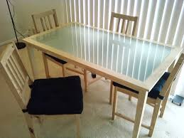 Frosted Glass Dining Table And Chairs Real Wood Kitchen Table Solid Wood Kitchen Table Ikea Bj Rkudden