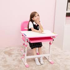 Pink Desk For Girls Best Desk Height Adjustable Children Desks Chairs Ergonomic
