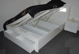 vogue king gas lift bed frame high gloss white touch light