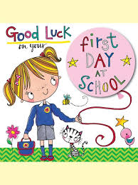 luck on your day at school greeting card by