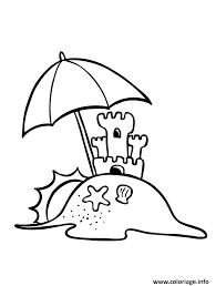 coloriage plage jeu de sable chateau plage vacance ete dessin