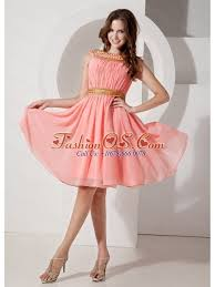 quince dama dresses bateau chiffon beading watermelon dama dresses for quinceanera