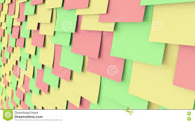 colored paper stickers on the wall office work or task reminder colored paper stickers on the wall office work or task reminder concepts 3d rendering