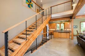 Wooden Stairs Design Simplest Wooden Staircase Design As Split Level Home