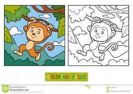 coloring book coloring page monkey and background stock vector