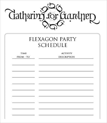 party schedule template 9 free word excel pdf format download