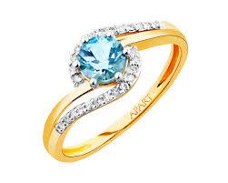 apart pierscionki pierścionek z żółtego złota z diamentami i topazem wzór 109 522