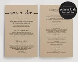 programs for wedding wedding program rustic wedding program ceremony program