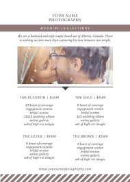 Wedding Photographers Prices Wedding Price List Photography Price List Template Pricing