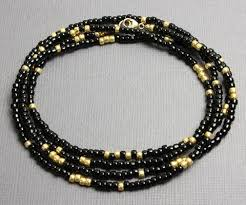 beads gold necklace images Black and gold seed bead necklace long single strand kathy bankston jpg