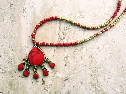 coral necklace red images Vintage afghan red gold necklace dainty delicate coral necklace JPG