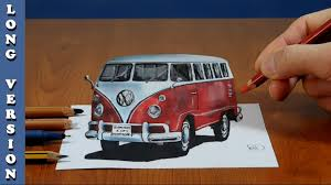 volkswagen old van drawing 3d trick art on paper vw classic van long version youtube