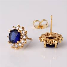 gold stud earrings for women amazing earing for womens gold plated white stones stud
