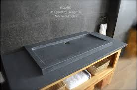 Double Trough Sink Bathroom Gray Granite Stone Double Faucet Trough Sink Figaro