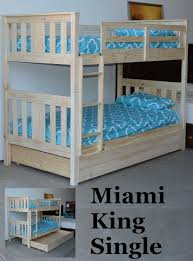 MIAMI DELUXE KING SINGLE TIMBER BUNK BED INC STORAGE DRAWER - King single bunk beds