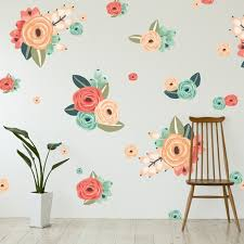 graphic flower clusters large floral wall decals walls