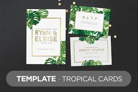 How To Print Invitation Cards Template Tropical Cards Invitation Templates Creative Market
