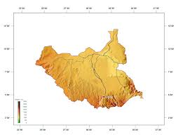 Maps Of South Africa by Large Elevation Map Of South Sudan South Sudan Africa